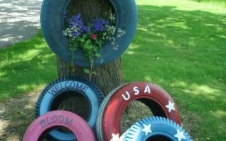 Что сделать из старых колес на даче?